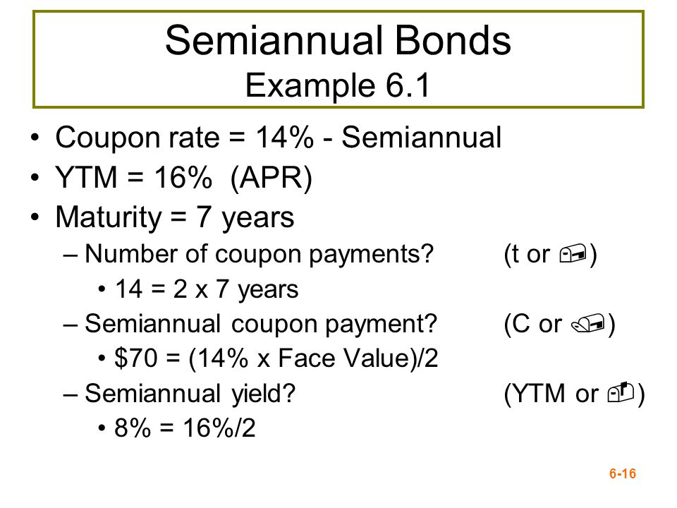 Semiannual Bonds Example 6.1