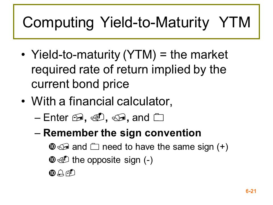 Computing Yield-to-Maturity YTM