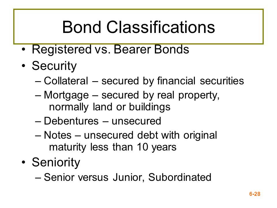 Bond Classifications Registered vs. Bearer Bonds Security Seniority