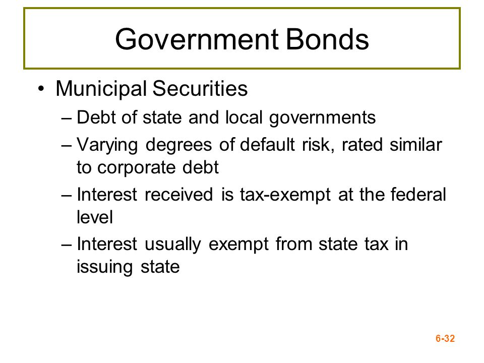Government Bonds Municipal Securities
