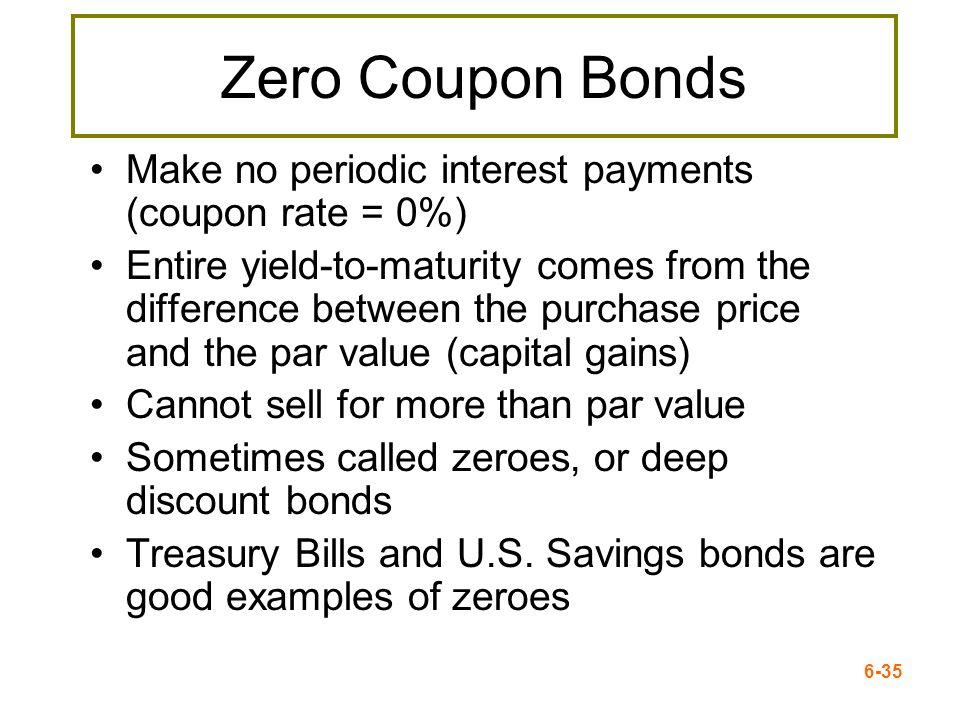Zero Coupon Bonds Make no periodic interest payments (coupon rate = 0%)