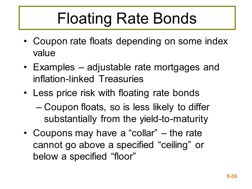 Floating Rate Bonds Coupon rate floats depending on some index value