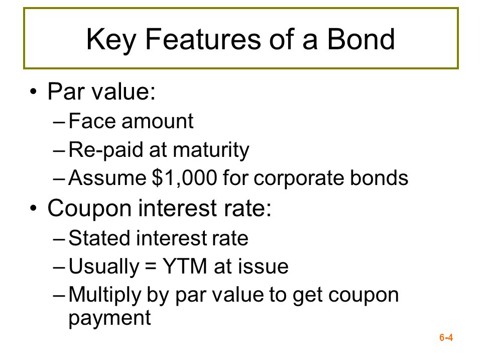 Key Features of a Bond Par value: Coupon interest rate: Face amount