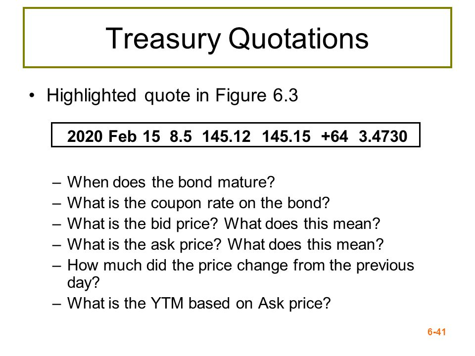 Treasury Quotations Highlighted quote in Figure 6.3