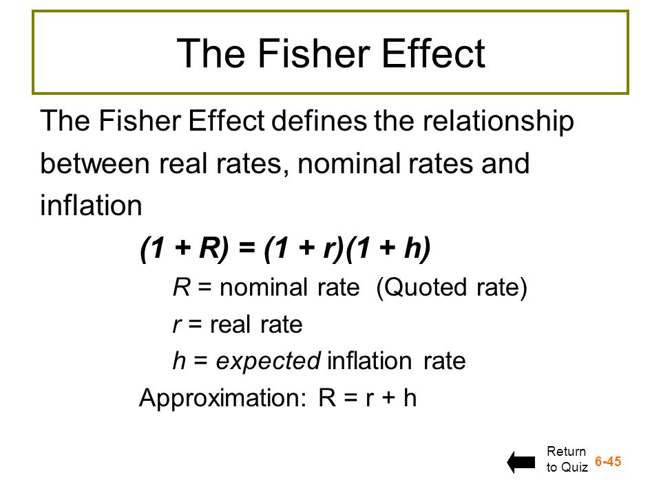 The Fisher Effect The Fisher Effect defines the relationship