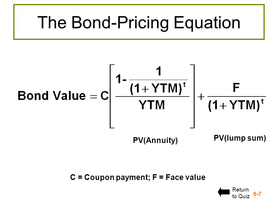 The Bond-Pricing Equation