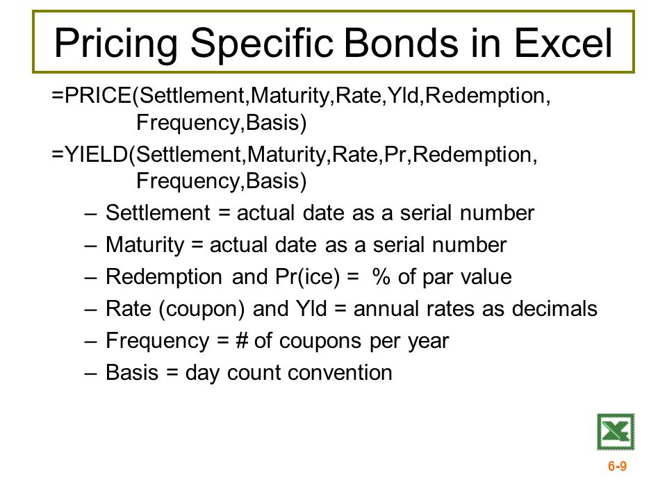 Pricing Specific Bonds in Excel
