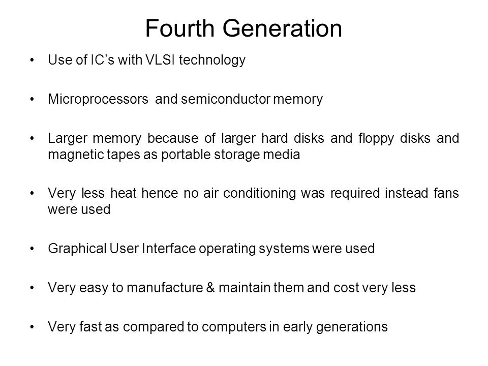Fourth Generation Use of IC's with VLSI technology