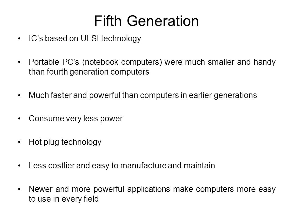 Fifth Generation IC's based on ULSI technology