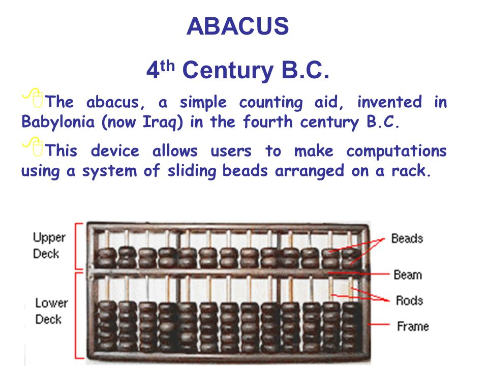 ABACUS 4th Century B.C. The abacus, a simple counting aid, invented in Babylonia (now Iraq) in the fourth century B.C.