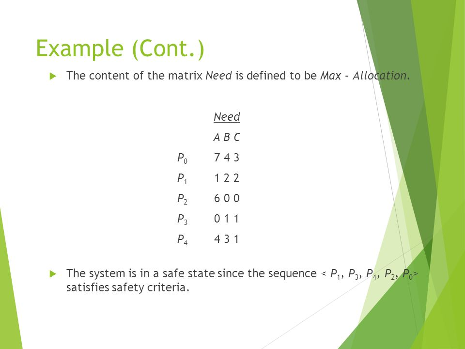 Example (Cont.) The content of the matrix Need is defined to be Max – Allocation. Need. A B C. P0 7 4 3.