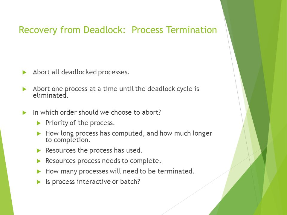 Recovery from Deadlock: Process Termination