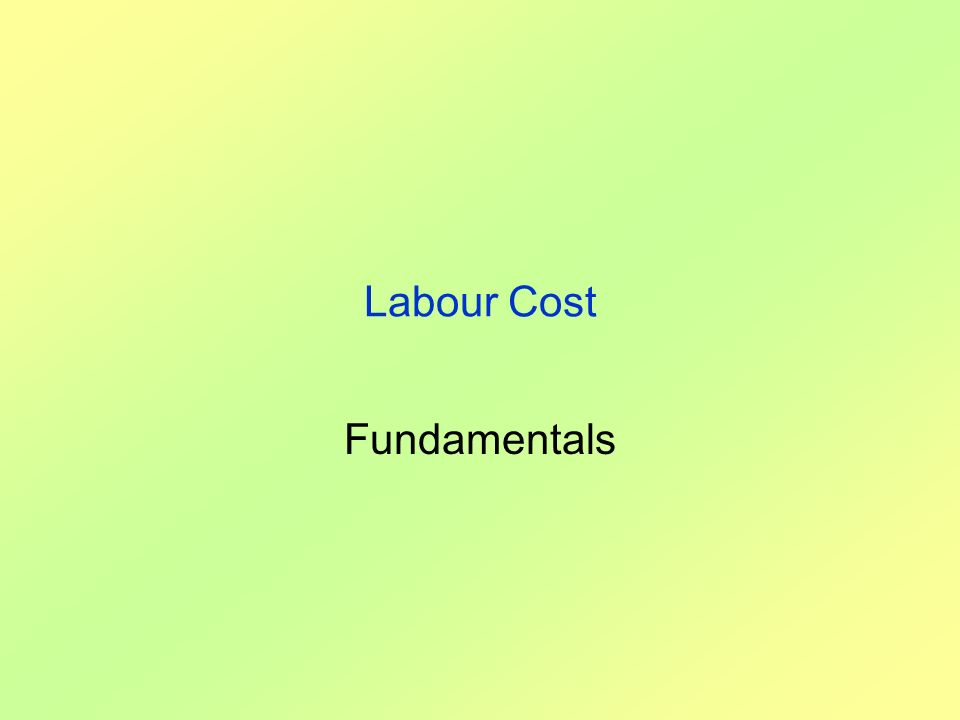 Labour Cost Fundamentals