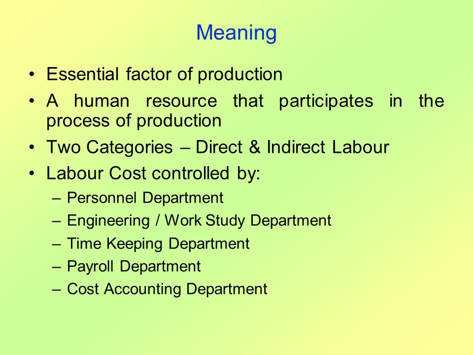 Meaning Essential factor of production