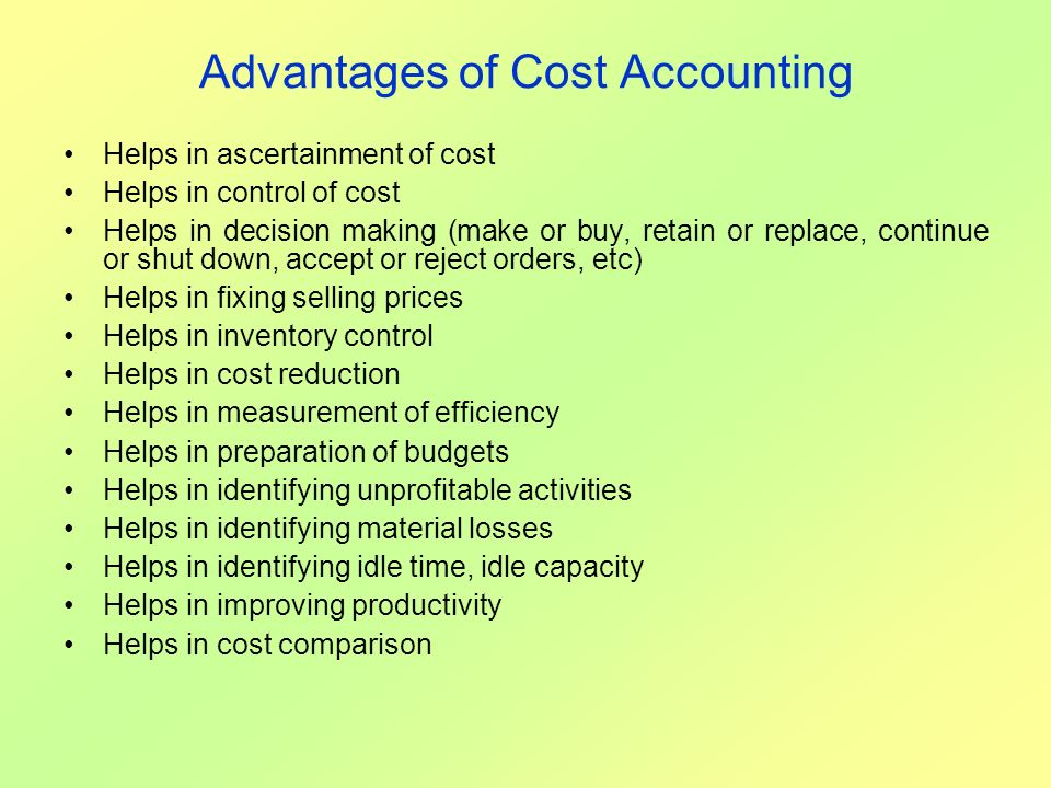 Advantages of Cost Accounting