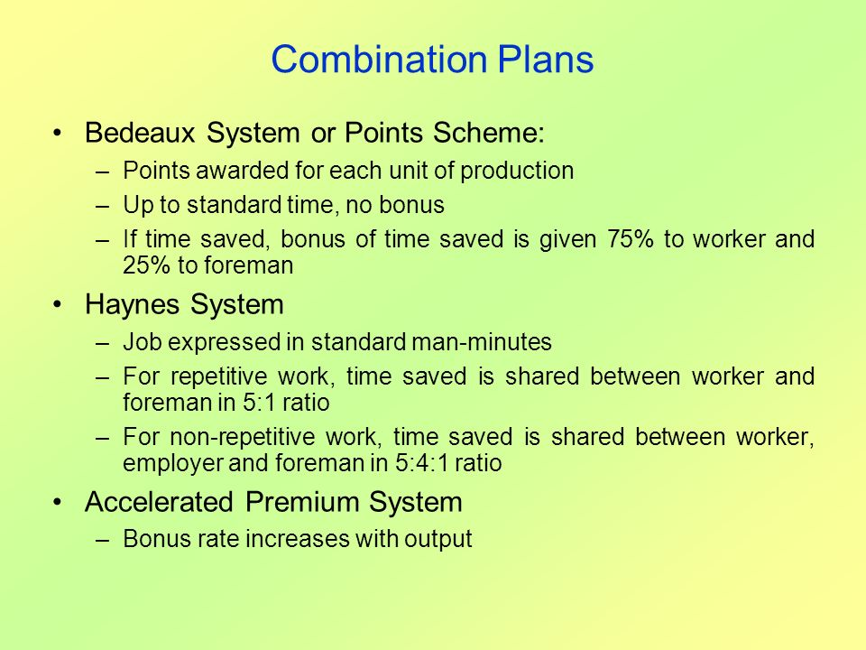 Combination Plans Bedeaux System or Points Scheme: Haynes System