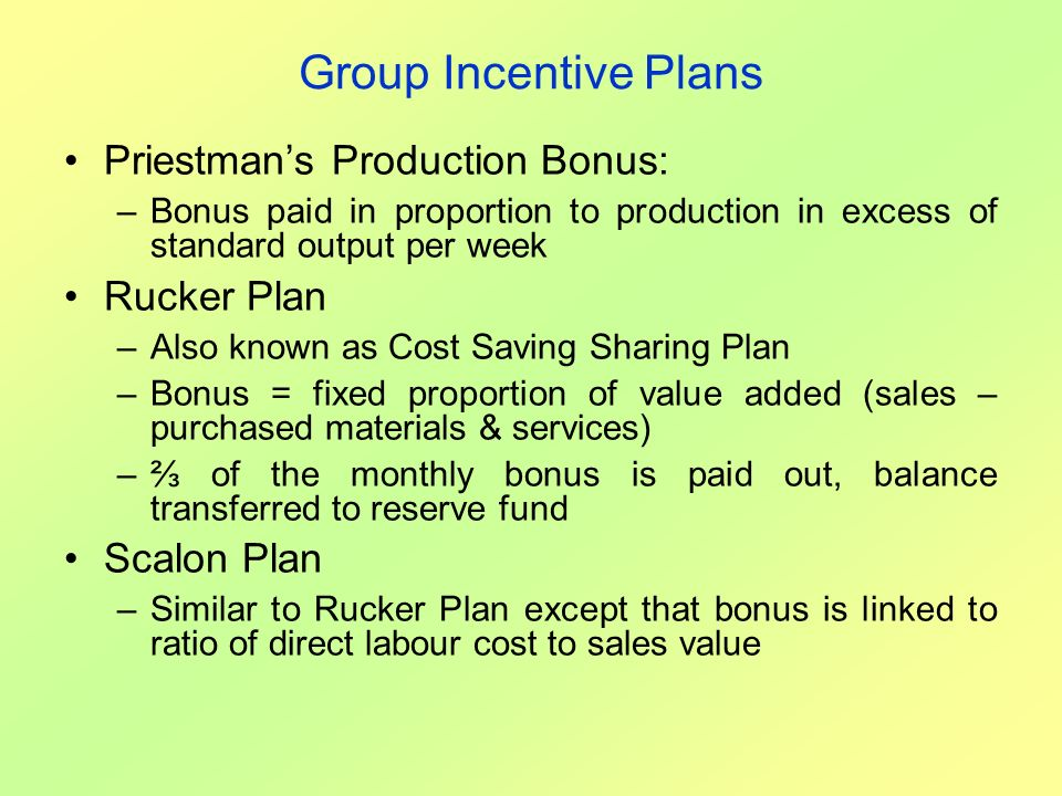 Group Incentive Plans Priestman's Production Bonus: Rucker Plan