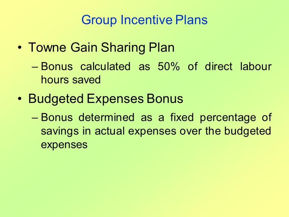 Towne Gain Sharing Plan
