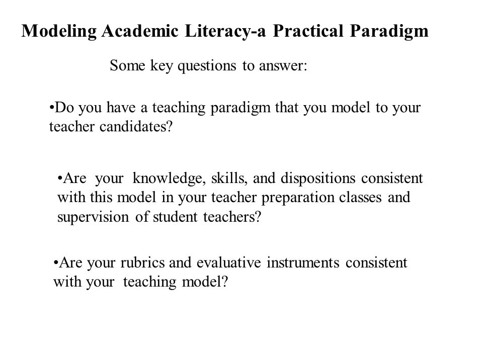 Modeling Academic Literacy-a Practical Paradigm