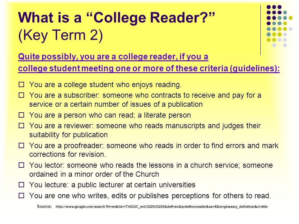 What is a College Reader (Key Term 2)