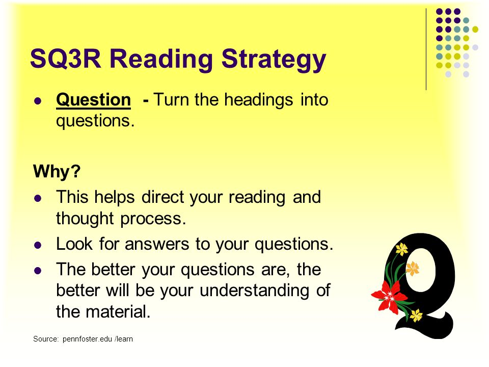 SQ3R Reading Strategy Question - Turn the headings into questions.