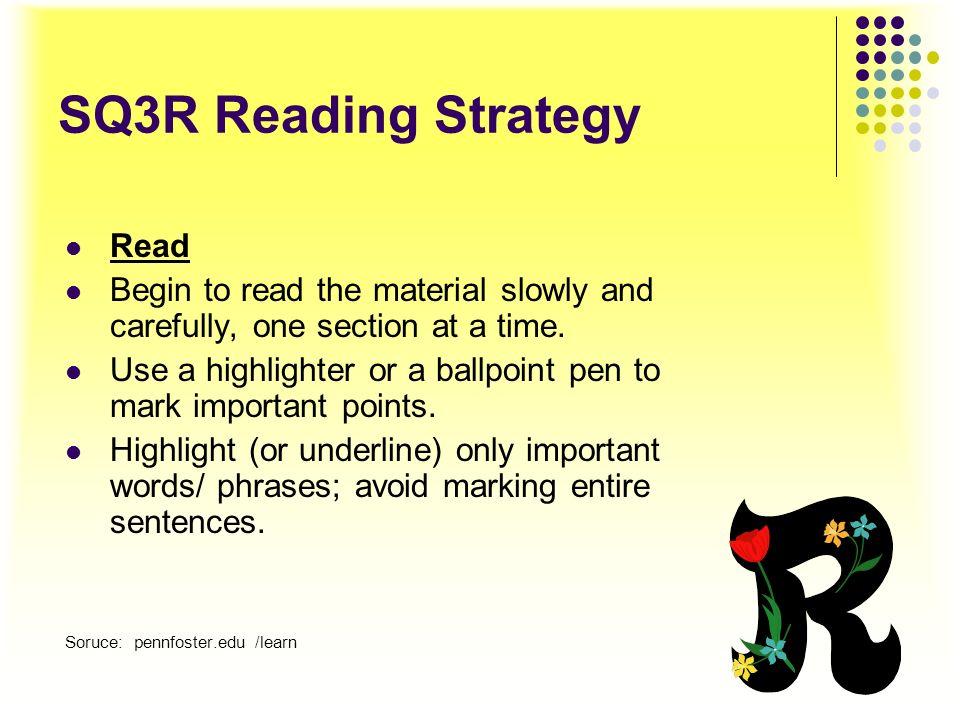 SQ3R Reading Strategy Read