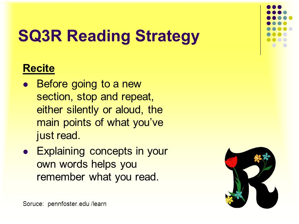 SQ3R Reading Strategy Recite