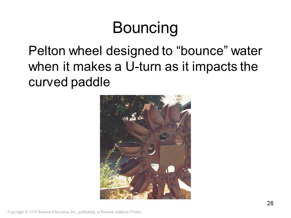 Bouncing Pelton wheel designed to bounce water when it makes a U-turn as it impacts the curved paddle.