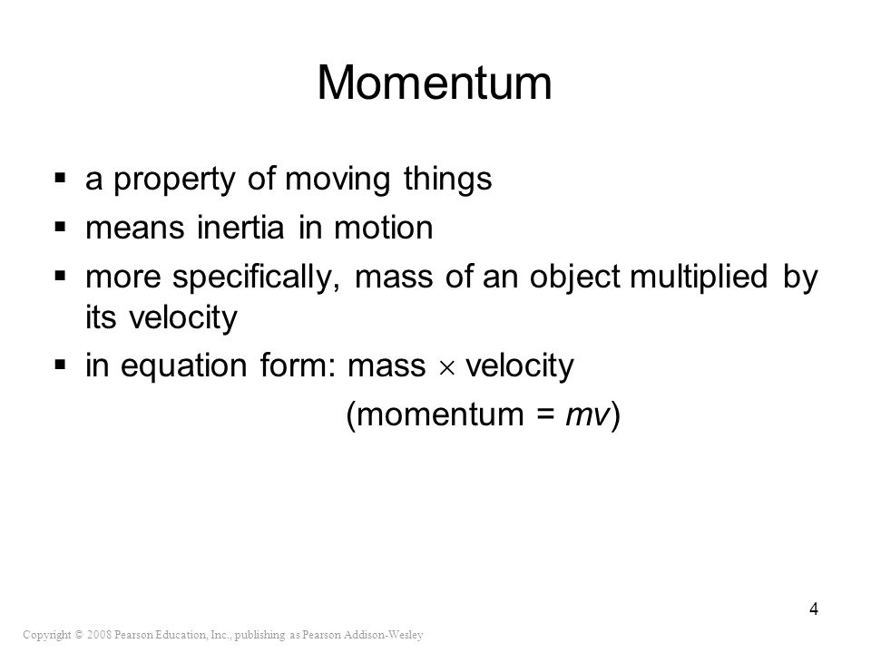 Momentum a property of moving things means inertia in motion