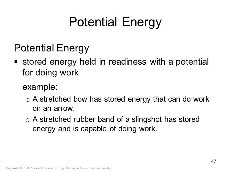 Potential Energy Potential Energy example: