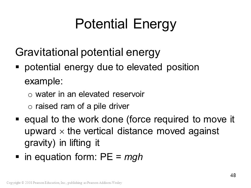 Potential Energy Gravitational potential energy