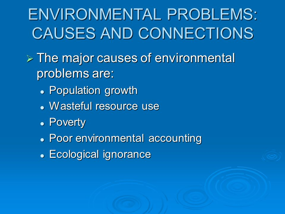 ENVIRONMENTAL PROBLEMS: CAUSES AND CONNECTIONS