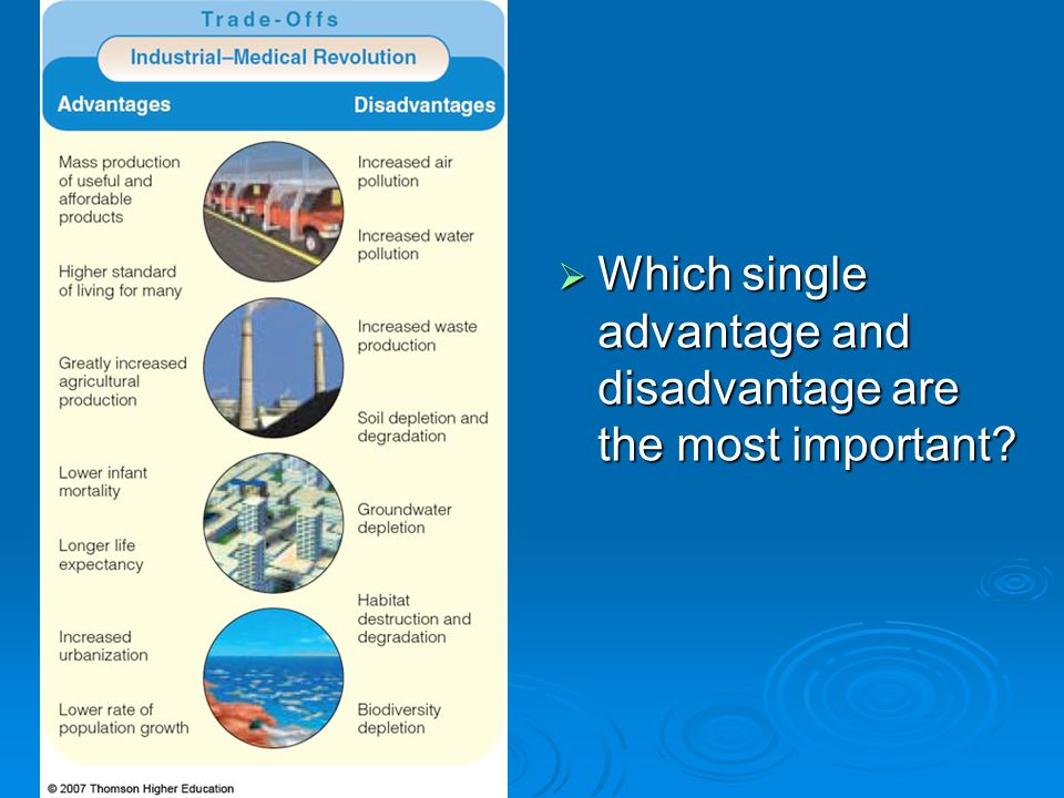 Which single advantage and disadvantage are the most important