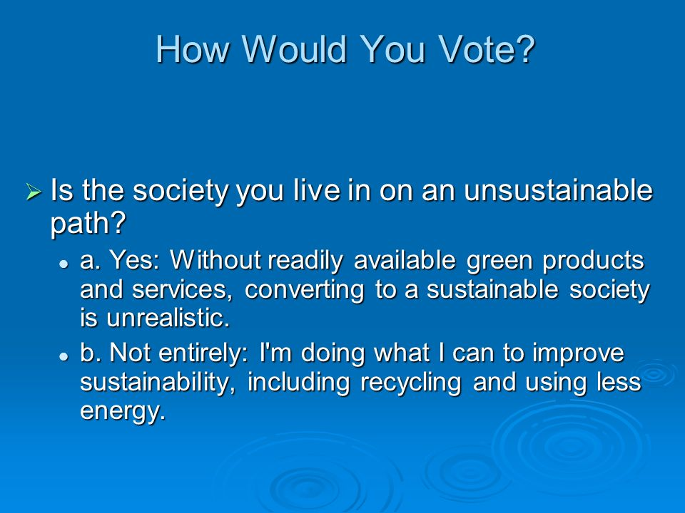 How Would You Vote Is the society you live in on an unsustainable path