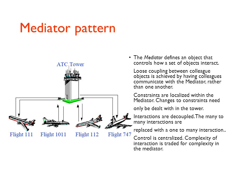 Mediator pattern The Mediator defines an object that controls how a set of objects interact.