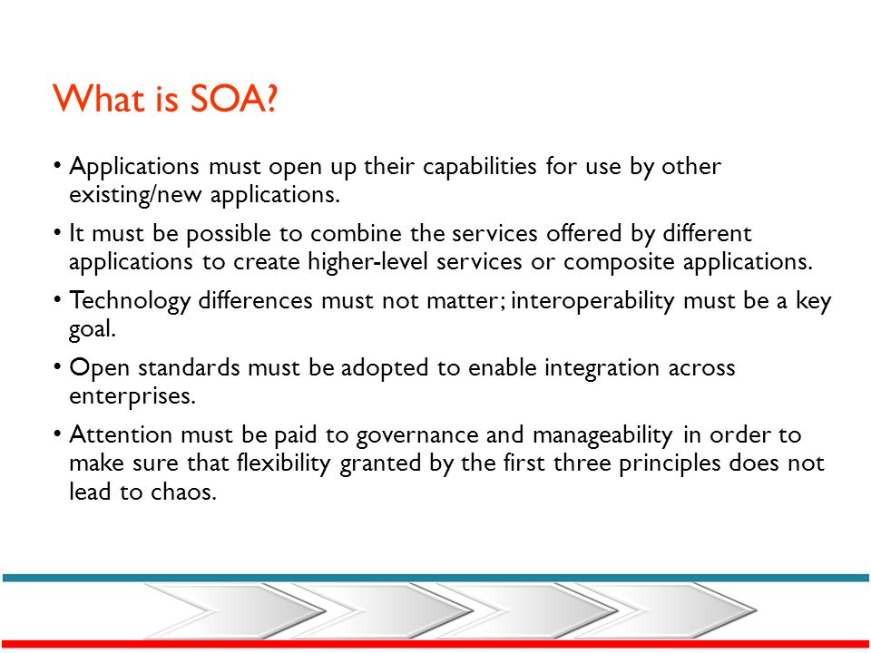What is SOA Applications must open up their capabilities for use by other existing/new applications.