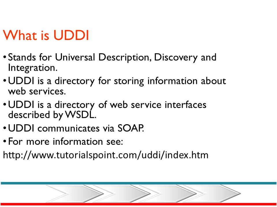 What is UDDI Stands for Universal Description, Discovery and Integration. UDDI is a directory for storing information about web services.