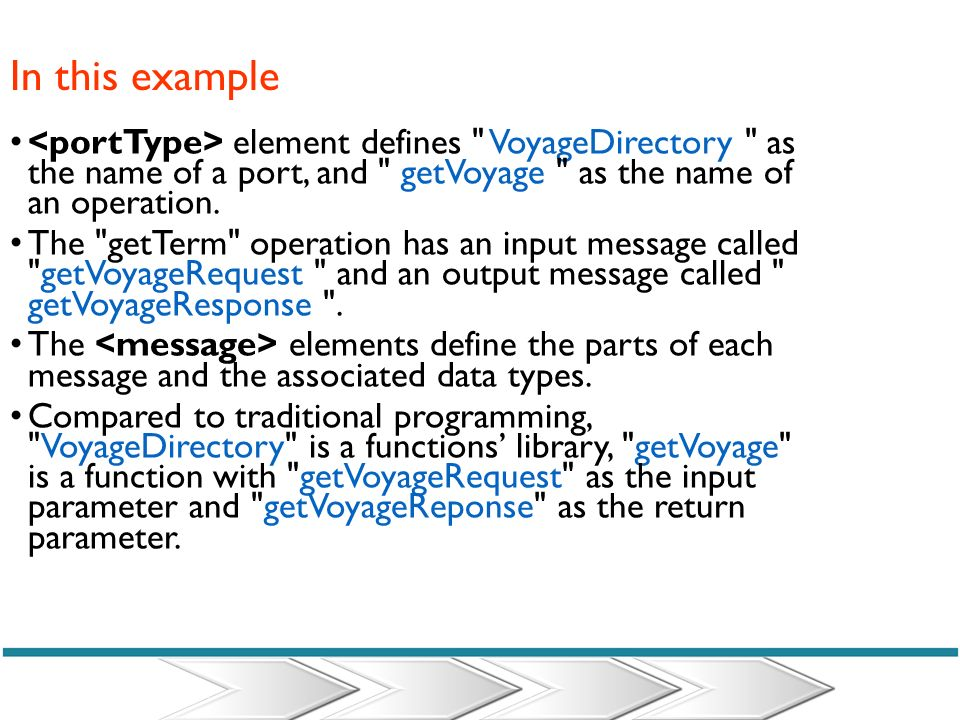 In this example <portType> element defines VoyageDirectory as the name of a port, and getVoyage as the name of an operation.