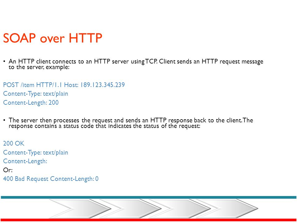 SOAP over HTTP An HTTP client connects to an HTTP server using TCP. Client sends an HTTP request message to the server, example: