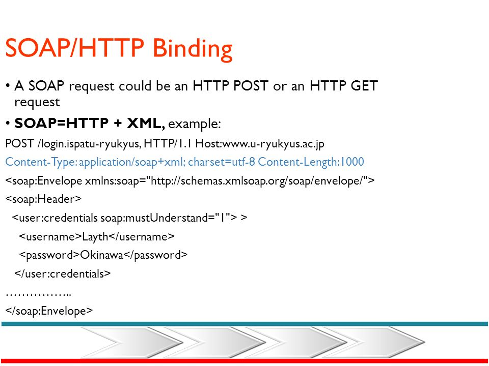 SOAP/HTTP Binding A SOAP request could be an HTTP POST or an HTTP GET request. SOAP=HTTP + XML, example: