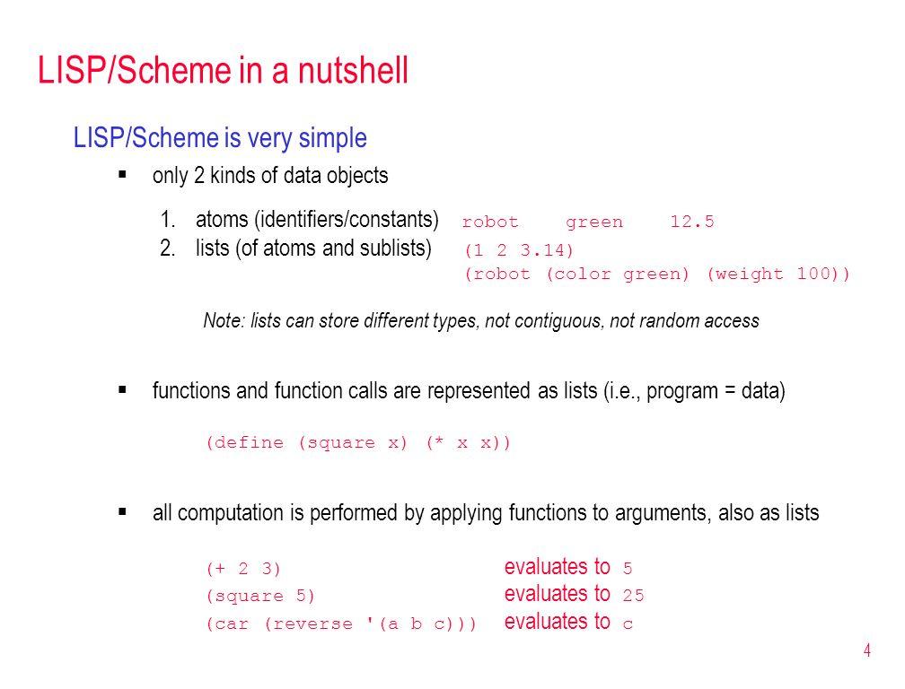 LISP/Scheme in a nutshell