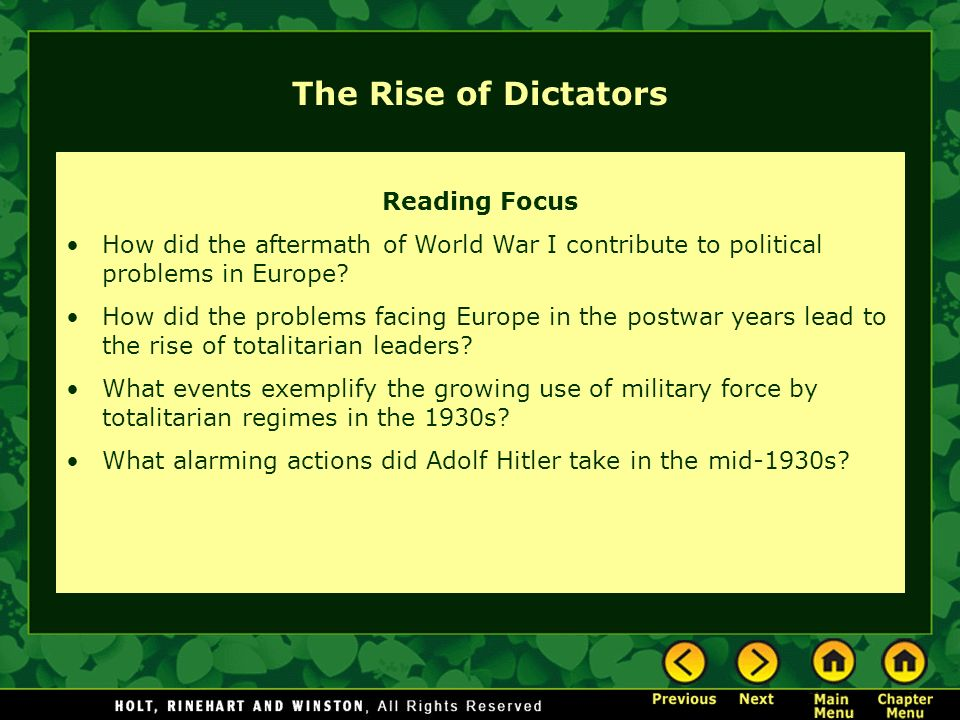 The Rise of Dictators Reading Focus