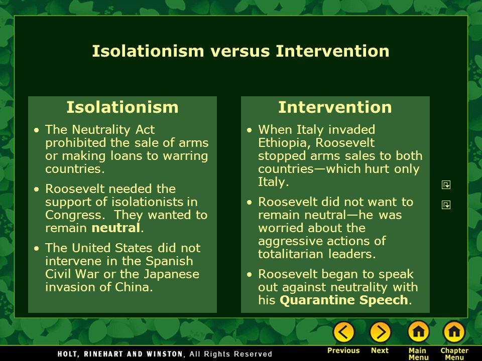 Isolationism versus Intervention