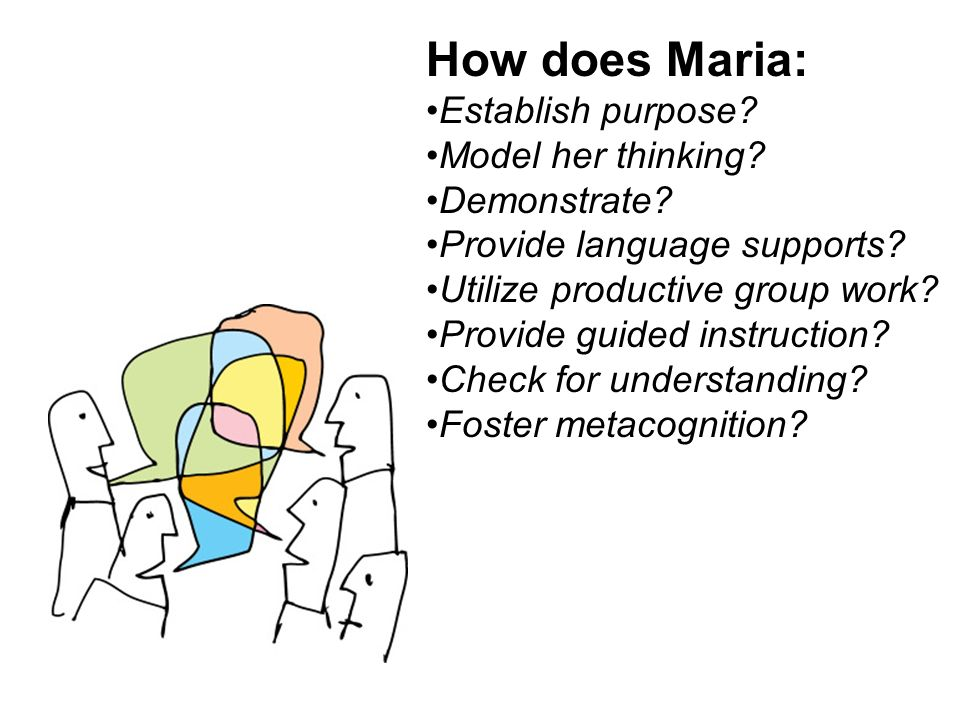 How does Maria: Establish purpose Model her thinking Demonstrate