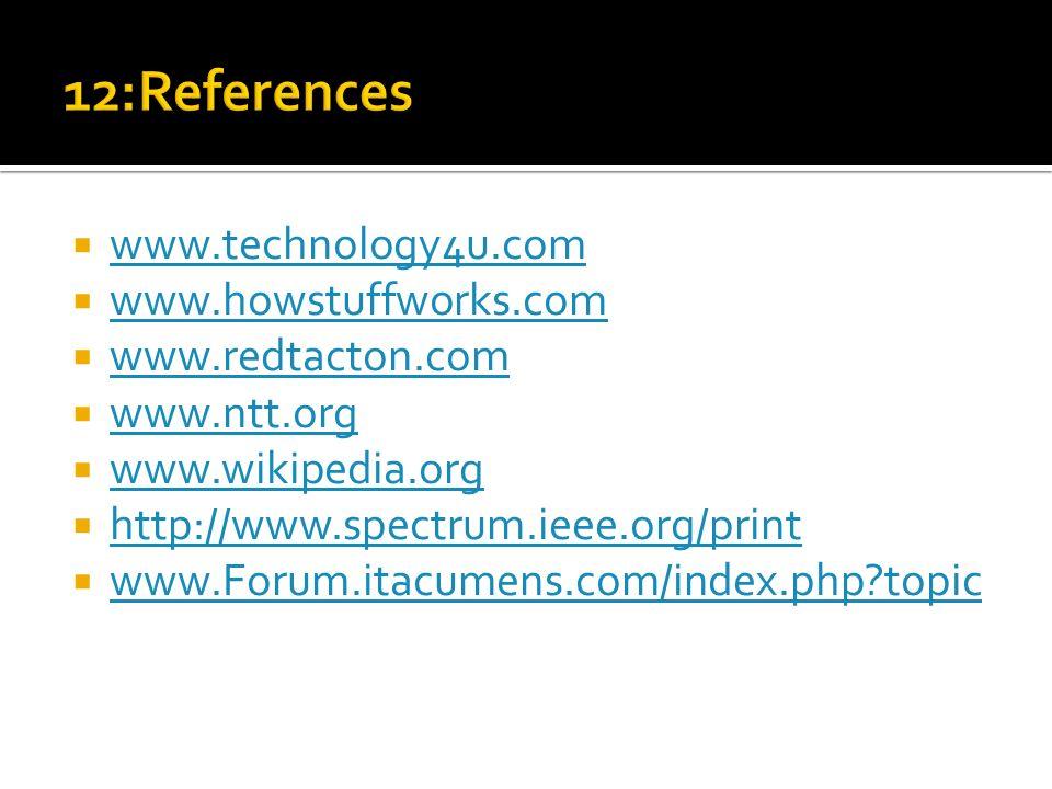 12:References www.technology4u.com www.howstuffworks.com