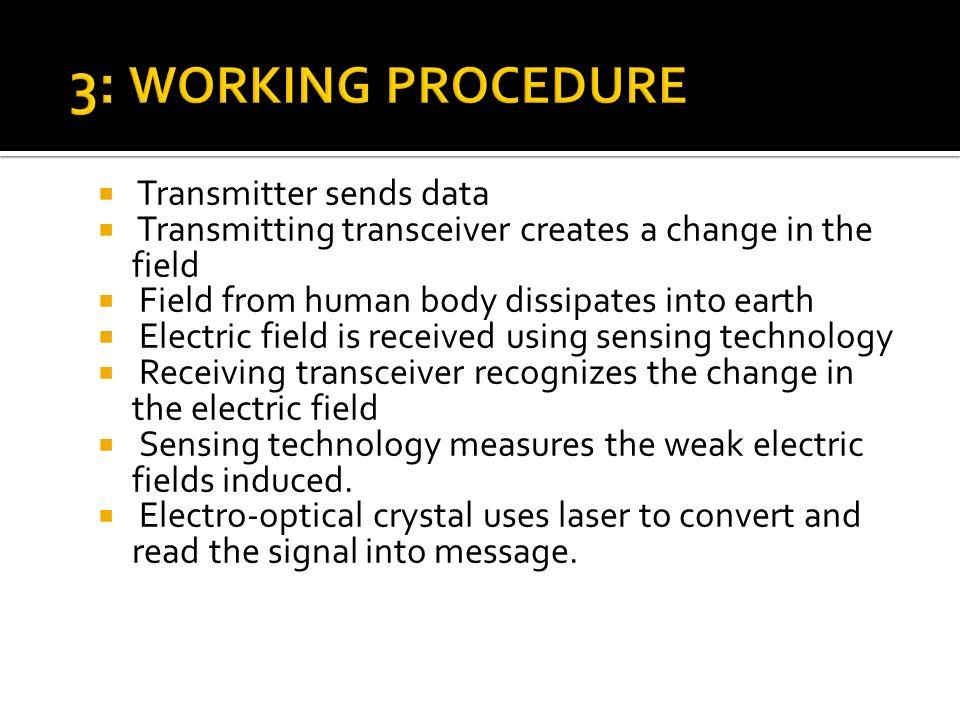 3: WORKING PROCEDURE Transmitter sends data