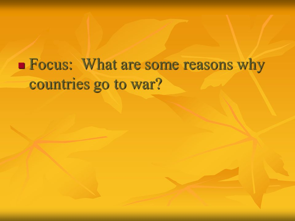 Focus: What are some reasons why countries go to war
