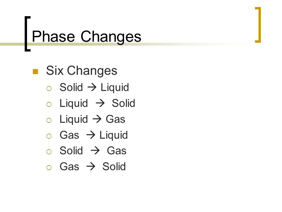 Phase Changes Six Changes Solid  Liquid Melting