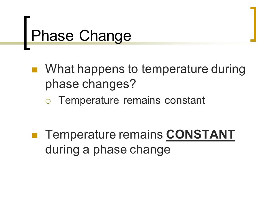Phase Change What happens to temperature during phase changes