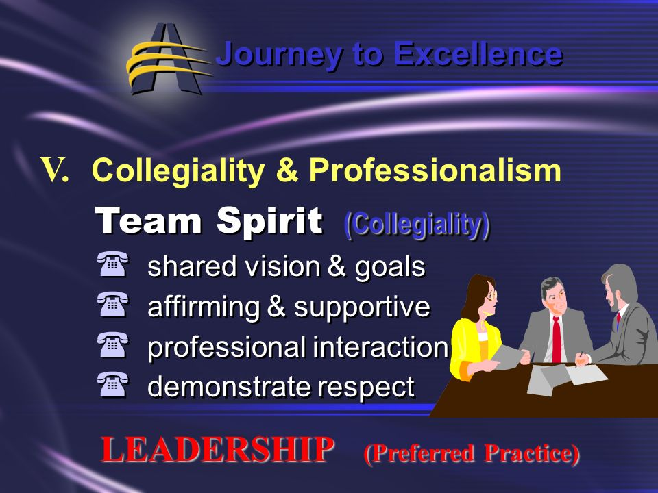 V. Collegiality & Professionalism Team Spirit (Collegiality)